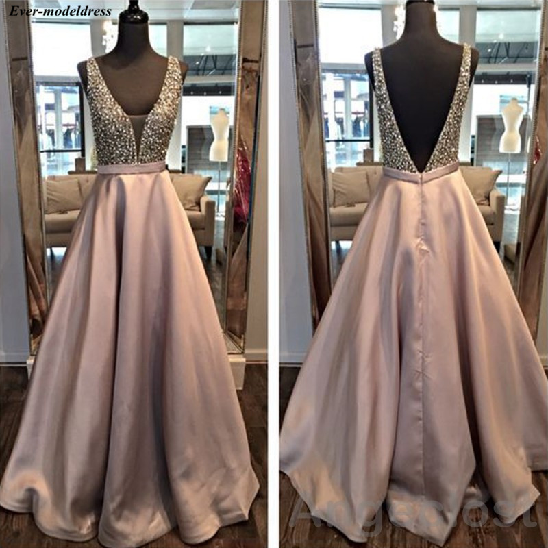 Sparkly Crystal Beading   Prom     Dresses   Long 2019 Backless A-Line Formal Party Gowns Arbic vestido formatura