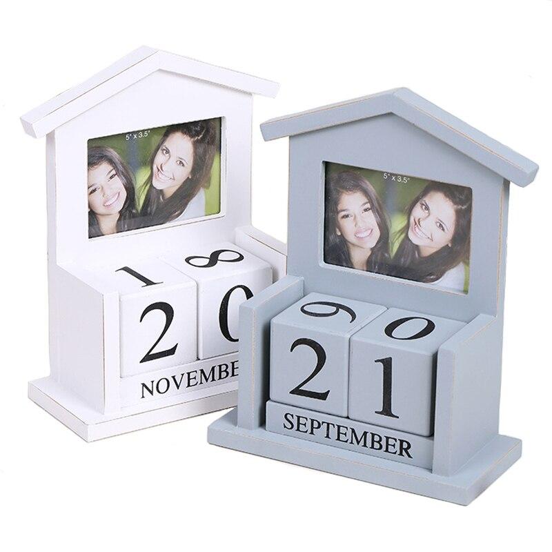 Vintage Wood Photo Frame w Perpetual Calendar House Design Desktop Painting Picture Frame Home Art Decor