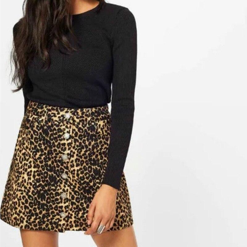 Leopard Fashion High Street Summer Skirts Women Europe America Cotton A-line Button Jupe Femme High Waist Sexy Faldas Mujer 2018