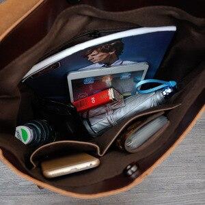 Image 5 - Новый Винтажный Мужской рюкзак на застежке в английском стиле, модные кожаные Ретро Рюкзаки Crazy Horse, мужская сумка, мужская сумка