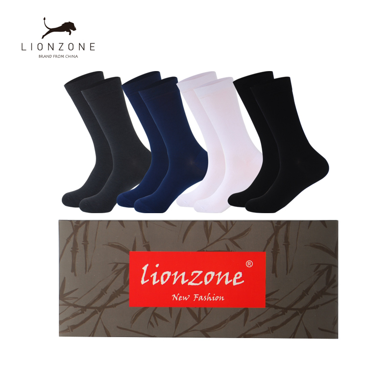 Men Bamboo Fiber Socks Anti-Bacterial Deodorant Breathable Warm Man Gentleman Business Dress Long Sock 4Pairs/Lot With Gift Box