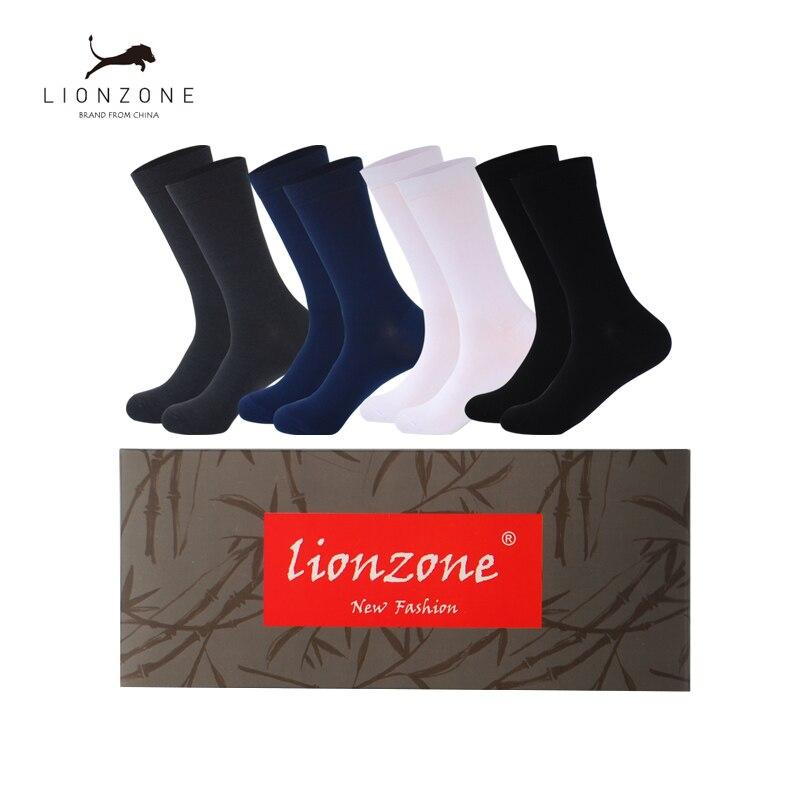 Men Bamboo Fiber Socks Anti-Bacterial Deodorant Breathable Warm Man Gentleman Business Dress Long Sock 4Pairs/Lot With Gift Box