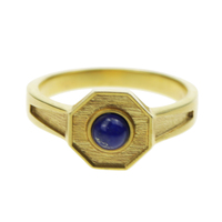 Men Rings With Natural Lapis Lazuli Stone Gold Plated Copper Rings For Men Fashion Jewelry 2017
