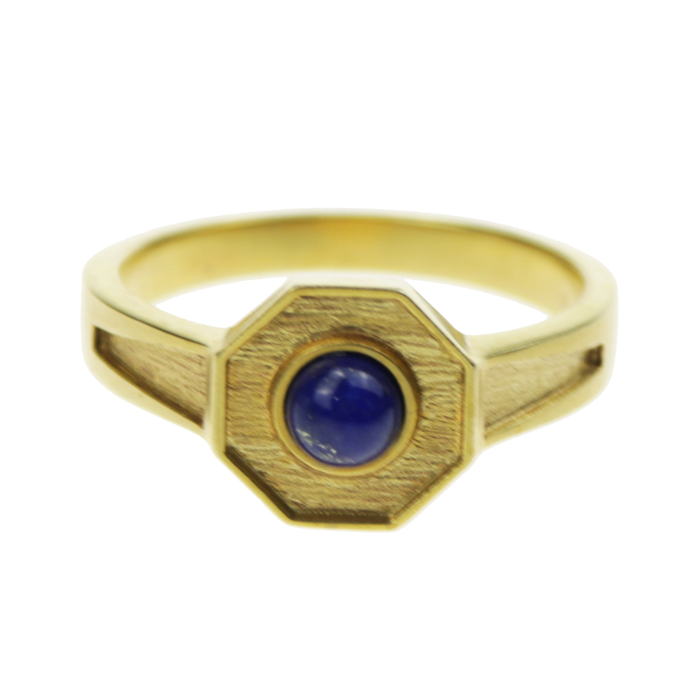 Handmade Vintage Man Rings With Natural Lapis Lazuli Stone Hexagon Copper Rings for Men Pure Gold Color Retro Unique Jewelry