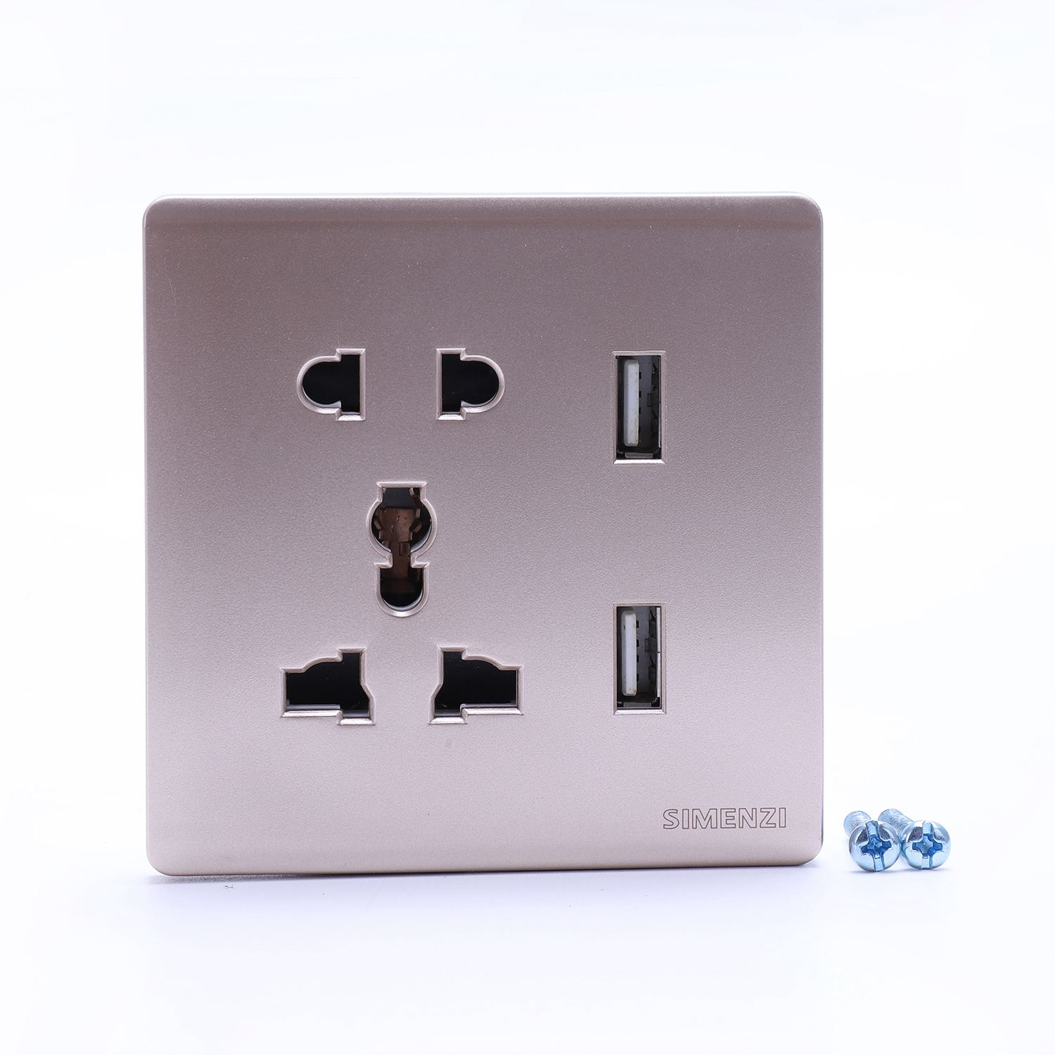 New Wall Electrical 10a Universal Plug Faceplate Socket Double 2 Usb