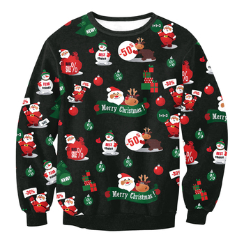 2018 Ugly Christmas Sweater For Women and Men Printe Loose Sweater Pullover Christmas Novelty Autumn Winter Tops Clothing 1