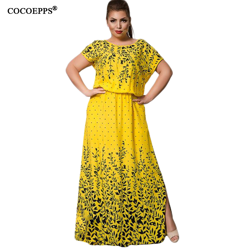 Summer Chiffon Print Long Dress 2017 Plus Size Short