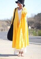 2017 Tie Apertura Ocasional de Gran Cadena Larga de Las Mujeres Ropa de Algodón Camiseta de la Rebeca, Amarillo brillante Azul Real Negro Más Tamaño Outwear Sh