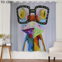 YO CHO fashion style Animal personality blackout cortinas salon blackout curtains blackou living room curtains for bedroom