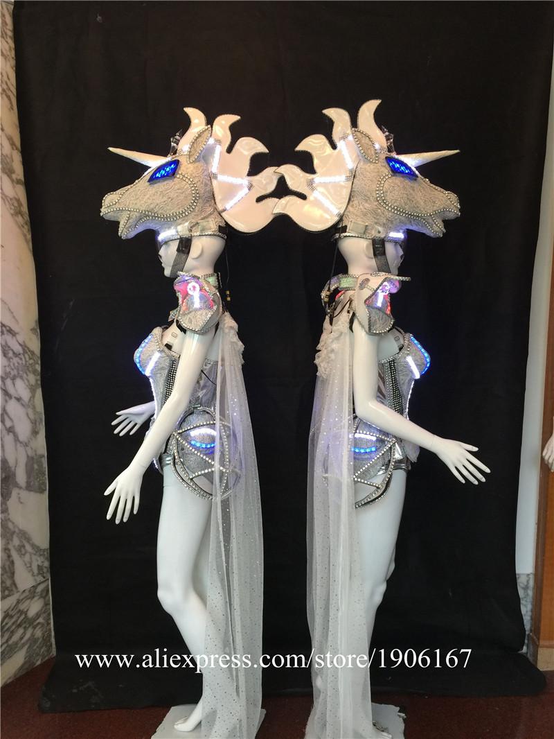 Led luminous horse costume flashing ballroom stage clothes01