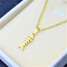 Peixe osso esqueleto de peixe corrente pingente, colar corrente de aço inoxidável gargantilha dourada bonito da moda pingente frete grátis jóias unissex