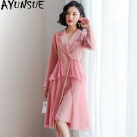 Spring Summer Dress Women Clothes 2019 Korean Vintage Office Dress Elegant Career Suit OL Womens Dresses Pink Party Dress ZT2063