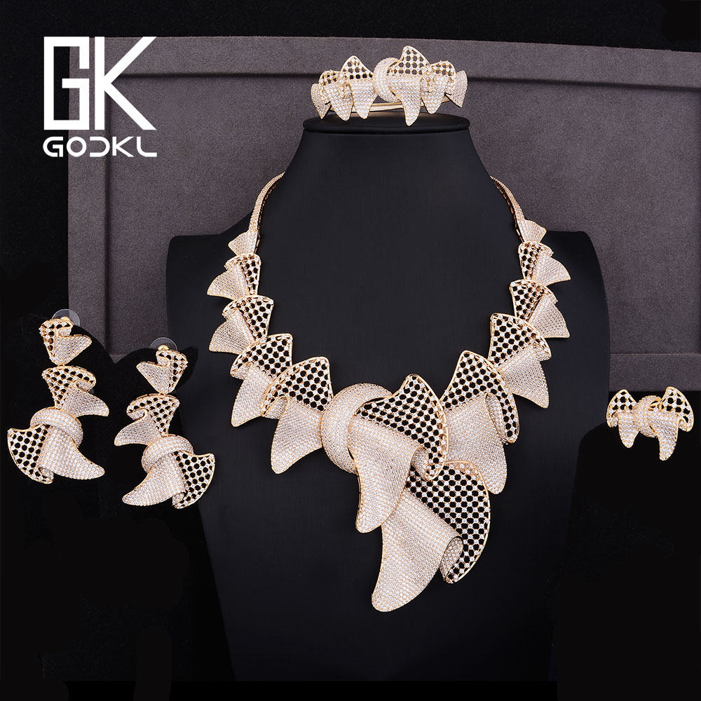 GODKI Luxury Bowknot Design Cubic Zirconia NigerianBridal Jewelry set For Women dubai gold jewelry sets indian jewelry Sets 2018GODKI Luxury Bowknot Design Cubic Zirconia NigerianBridal Jewelry set For Women dubai gold jewelry sets indian jewelry Sets 2018