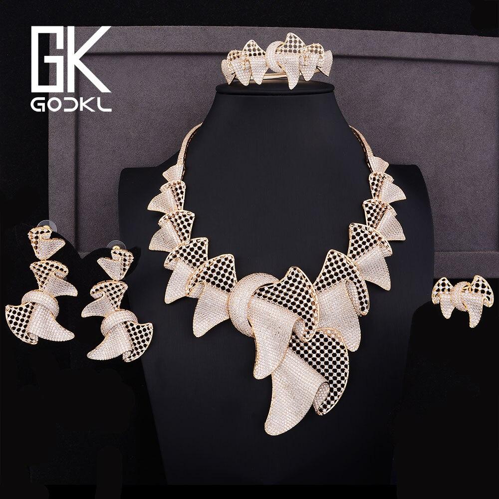 GODKI luxe Bowknot Design cubique zircone nigérian ensemble de bijoux de mariée pour les femmes dubai or bijoux ensembles indien bijoux ensembles 2018