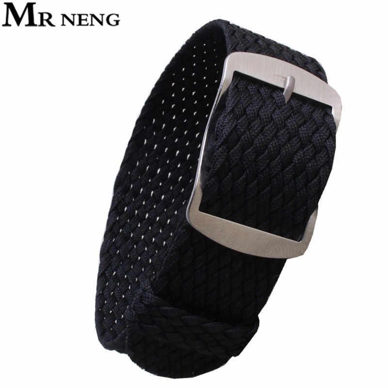 """מר NENG מותג 1 יחידות/אופנה סיטונאי ניילון ארוג עבור Perlon צבעים שונה רצועות רצועת השעון 20 מ""""מ 22 מ""""מ 14 מ""""מ 16 מ""""מ 18 מ""""מ"""