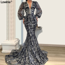 Lowime Vintage Mermaid V-Neck Evening Dresses Long Sleeves