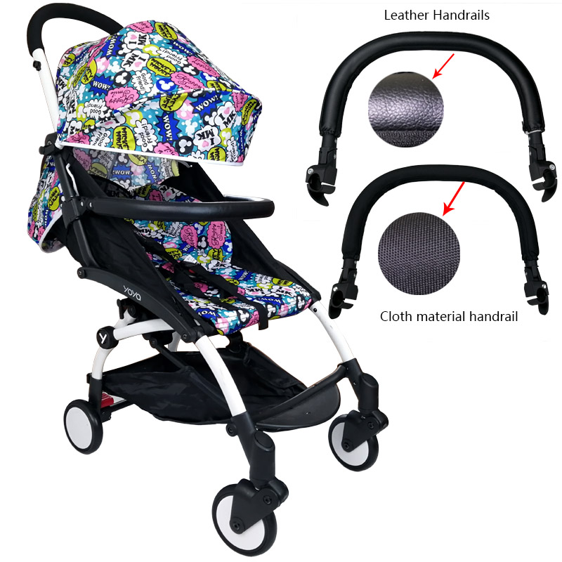 Baby Pram Bar Handrail Oxford Fabric And PU Leather Stroller Armrest For Babyzen Yoyo Babyyoya Babytime Stroller Accessories