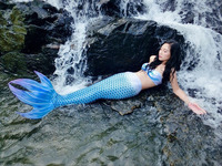 Girls Mermaid Tail Costume With Monofin Bra 3pcs For Kids Girl Swimming Cosplay Costume Swimmable Mermaid