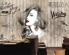 beibehang Custom wallpaper fashion hair salon hairdresser beauty salon barber shop background wall decoration 3d wallpaper mura цена 2017