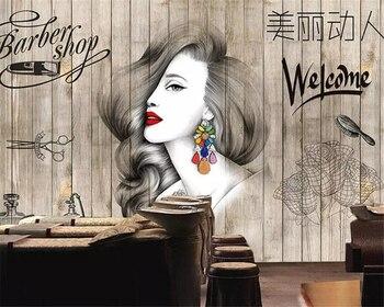 beibehang Custom wallpaper fashion hair salon hairdresser beauty barber shop background wall decoration 3d mura