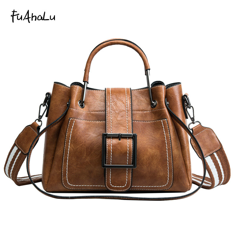 FuAhaLu Women's new fashion handbag wide shoulder strap large capacity bucket bag Messenger casual shoulder bag free dhl women s handbag for boss bucket handbag speedy with strap bag fashion fashionable casual print handbag messenger bag