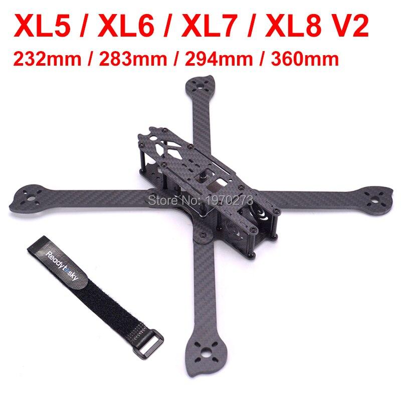 3 K fibre de carbone XL5 V2 232mm XL6 283mm XL7 294mm XL8 360mm vrai X 5 6 7 8 pouces cadre FPV Freestyle avec kit de course de bras 4mm