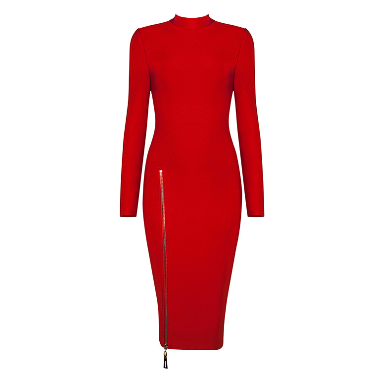 Free Shipping Red Dress for New Year Party 2017 Womens Bodycon Knee Length Black Long Sleeve Bandage Dresses with Side Zipper