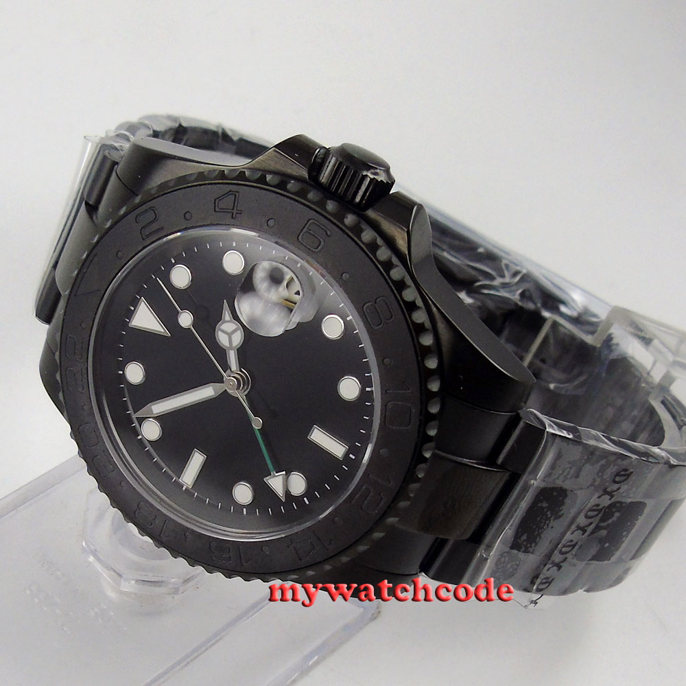 40mm parnis black dial brush ceramic bezel PVD sapphire automatic mens watch 524 40mm parnis black dial ceramic bezel pvd case luminous vintage sapphire automatic movement mens watch p145