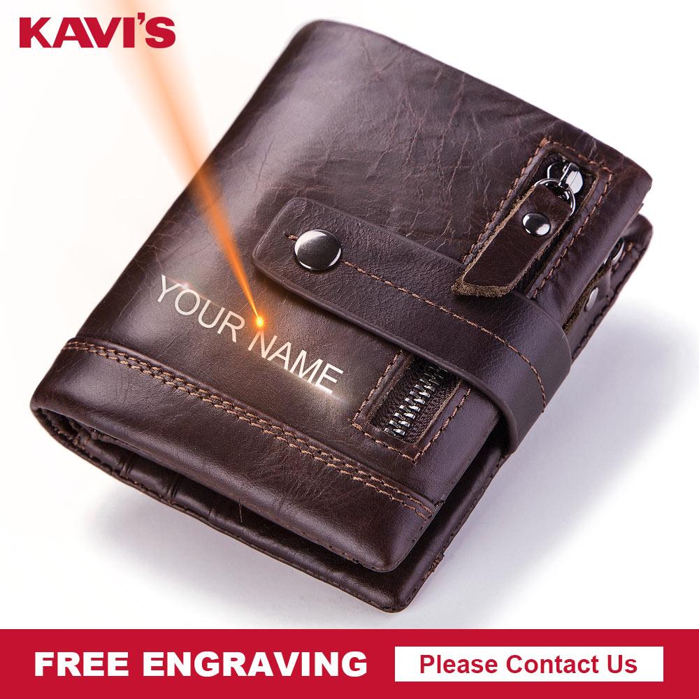 KAVIS Free Engraving Genuine Leather Wallet Men PORTFOLIO Male Cudan Small Portomonee Coin Purse Pockets Gift Card Holder Name