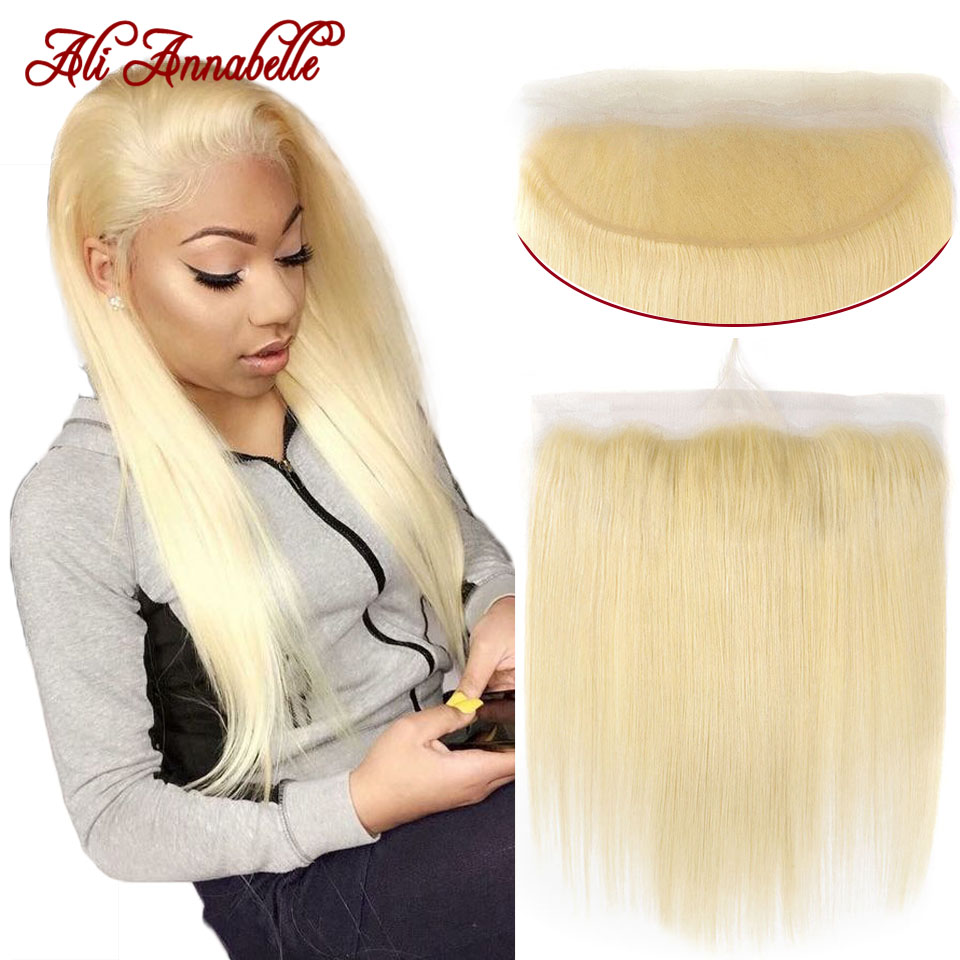 613 Blonde Human Hair Lace Frontal Closure 13*4 Malaysian Straight Frontal Closure with Baby Hair Middle/Free Part Closure Front image