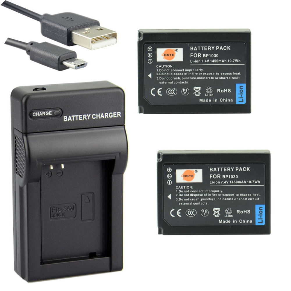 DSTE 2PCS BP1030 BP-1030 Battery with USB Port <font><b>Charger</b></font> for <font><b>Samsung</b></font> NX200 NX300 <font><b>NX1000</b></font> NX210 NX2000 NX300M NX500 Camera image