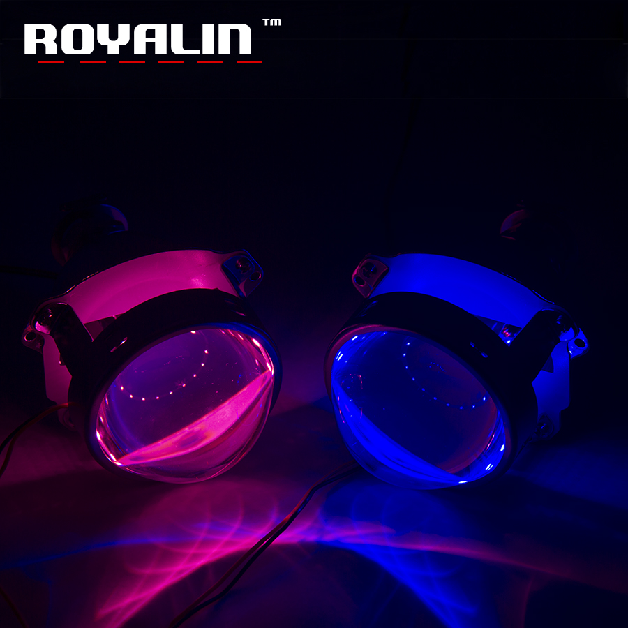 ROYALIN Car-styling HID H1 Bi Xenon Headlight Projector Lens 3.0 Inch Full Metal w/360 Devil Eyes Red Blue for H4 H7 Auto Light royalin car styling hid h1 bi xenon headlight projector lens 3 0 inch full metal w 360 devil eyes red blue for h4 h7 auto light