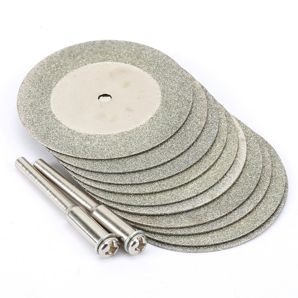10pcs 40mm Mini Diamond Saw Blade Diamond Cutting Discs With 2pcs Connecting 3mm Shank For Dremel Drill Fit Rotary Tool