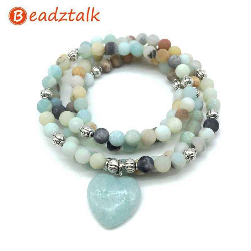 Natural Stone Beads Bracelets Elastic 74 cm Mala Yoga Necklace Labradorite Amazonite Heart Charm High Quality Drop Shipping