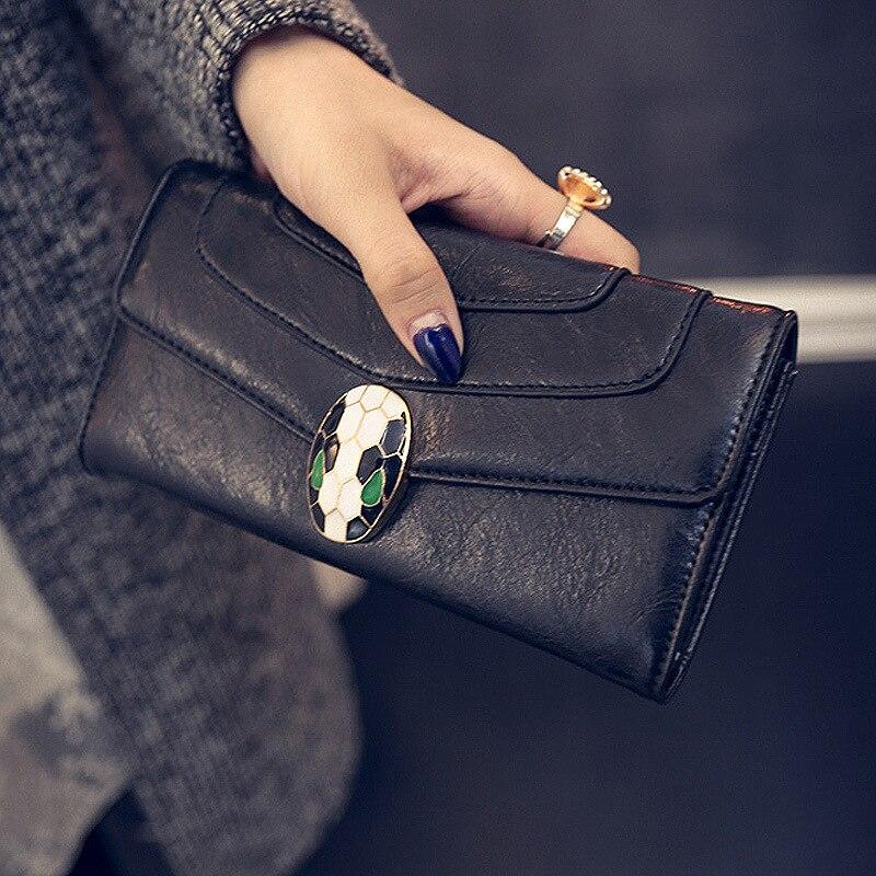 New Fashion Leather Ladies Wallet Vintage Enamel Snake Head Wallet Women's Long Clutch Wallet Card Holder women's wallet