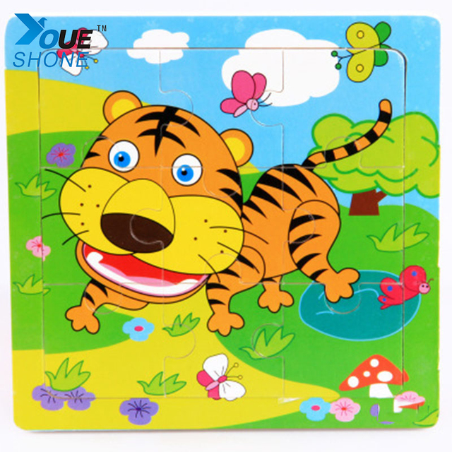 cartoon animal tiger bee panda helicopter transport wooden jigsaw puzzle kids puzzels souptoys