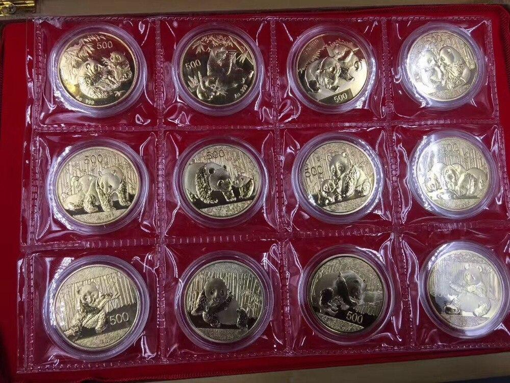 12 pièces chine panda pièce plaqué or pièce cadeau collection présent