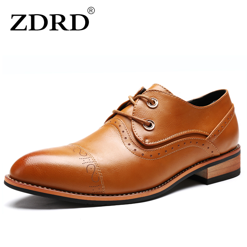 ZDRD Hot Sale New Flats Shoes Fashion PU Leather Men Brogue Shoes Spring Autumn Breathable Men Casual Flat Patent Leather Shoes spring korean men flats shoes british fashion trend of small leather flat shoes tide dress shoes hot sale b1198