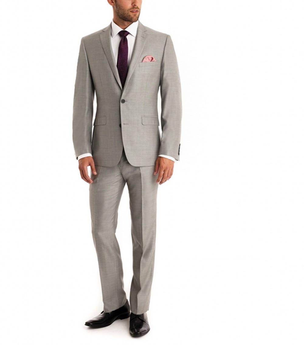 2017 Classic Light Grey Men Suits Prom Wear Handmade One Button Notah Collar Groom Men Wedding Tuxedos (Jacket+Pants+Vest+Tie)