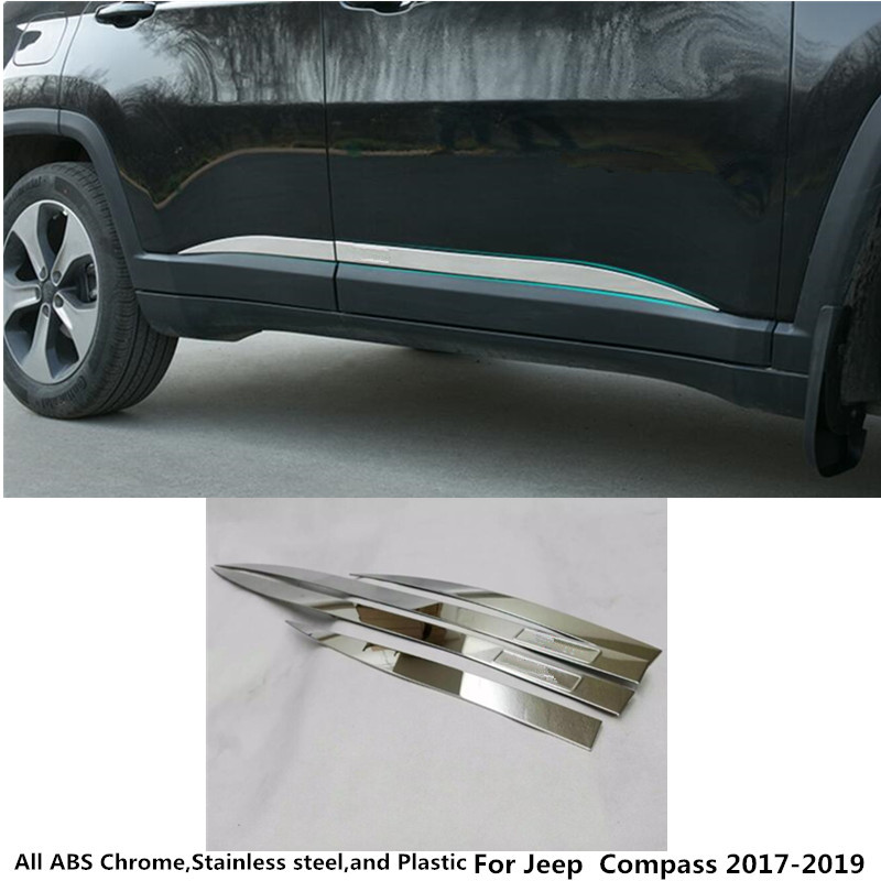 Hot sale Car styling cover detector stainless steel Side Door Body trim stick Strip Molding For Jeep Compass 2017 2018 2019 4pcs