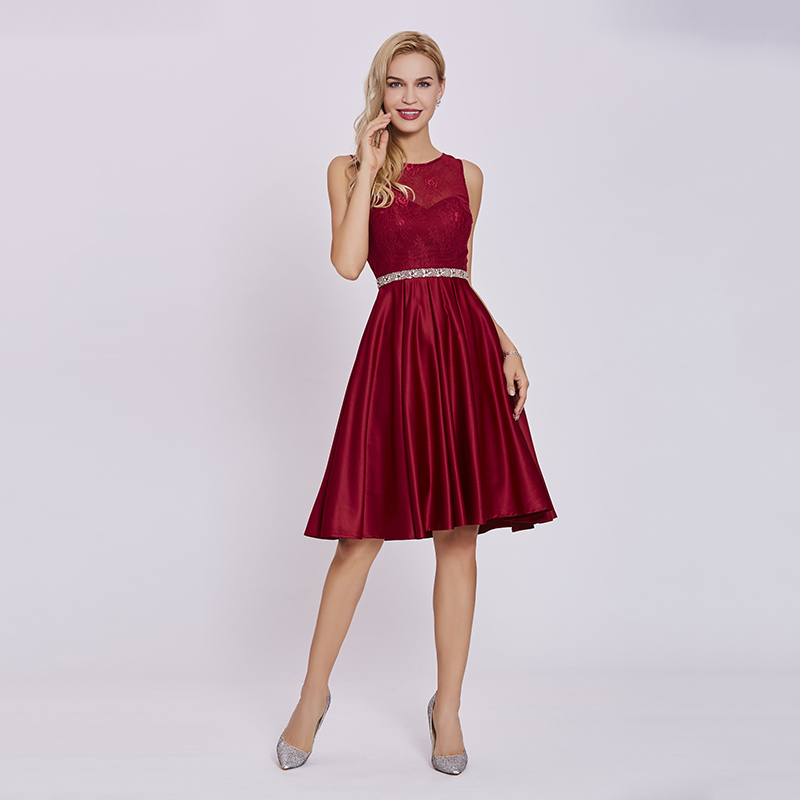 Tanpell beaded lace cocktail dress burgundy sleeveless knee length a ...