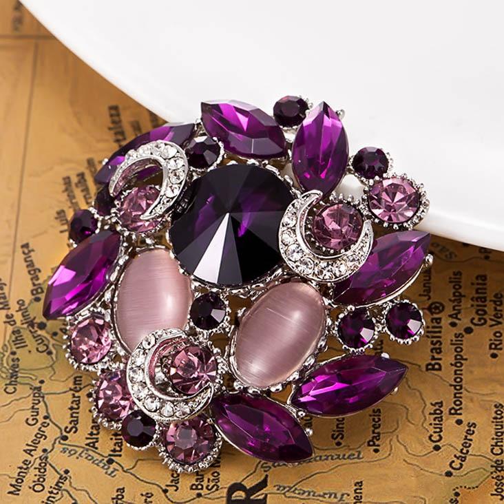 Stars Purple Brooch Women Brand Antique Gold Vintage Broaches Colares Bijuterias Perfecto Rhinestone Broches Bouquet Relogio Vaz