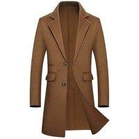 2018 новый 100% чистого Шерстяное пальто Для мужчин зимние double faced wool теплая куртка Man Slim Fit с длинным Повседневное шерстяные одежда; пальто Разме