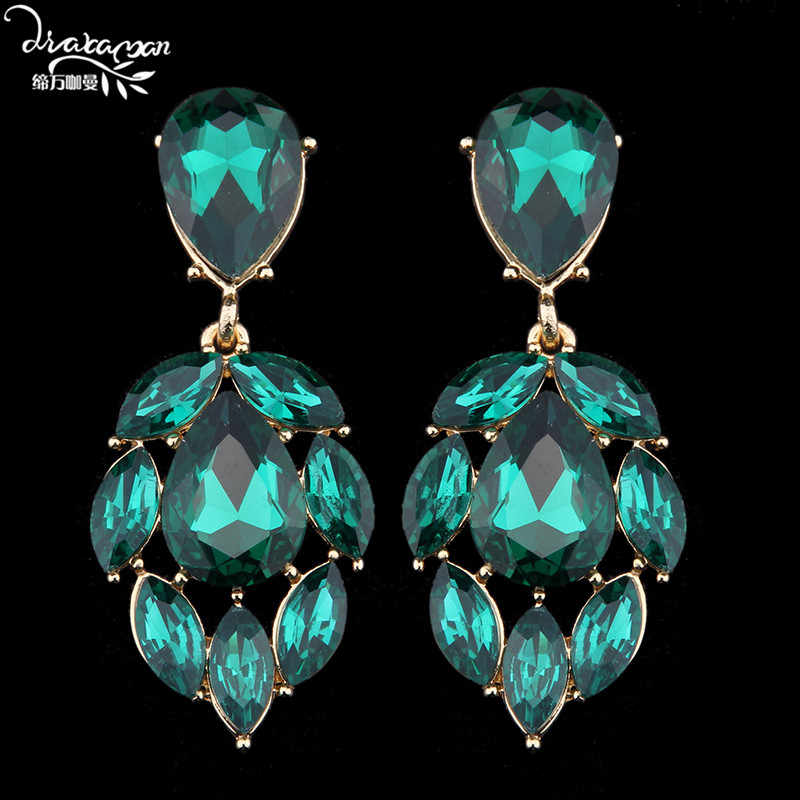 Dvacaman Brand Wholesale Factory Price Green Crystal Dangle Drop Earrings Wedding Women Party Statement Handmade ZA Jewelry M36