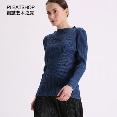 ardoisé Gratuite marine Mode Miyake T En Cou Femmes Noir shirt cofee Livraison Stock Manches Bleu Solide Longues Slash Fold À TSU4OwqdRx
