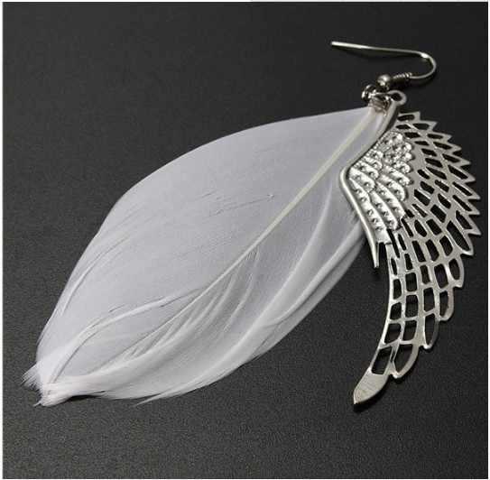 Ange métal aile boucles d'oreilles bohème à la main exquis ornements Vintage plume longue goutte boucles d'oreilles Bijoux Bijoux bibelot aretes
