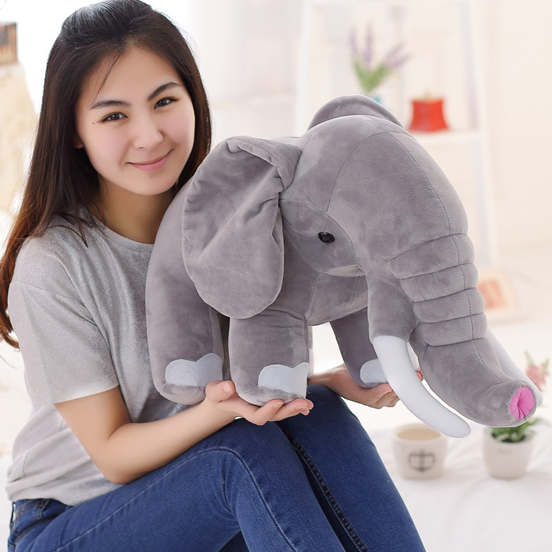 45-80cm Cute Lovely Soft Long Nose Elephant Plush Doll Kids Toys Children's Day Gift Feather Cotton Baby Toys  Popular Toys