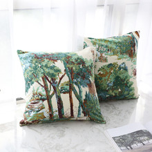 1pc家の装飾クッションカバー植物森スロー枕カバーレトロ枕快適な枕カバーソファ寝室