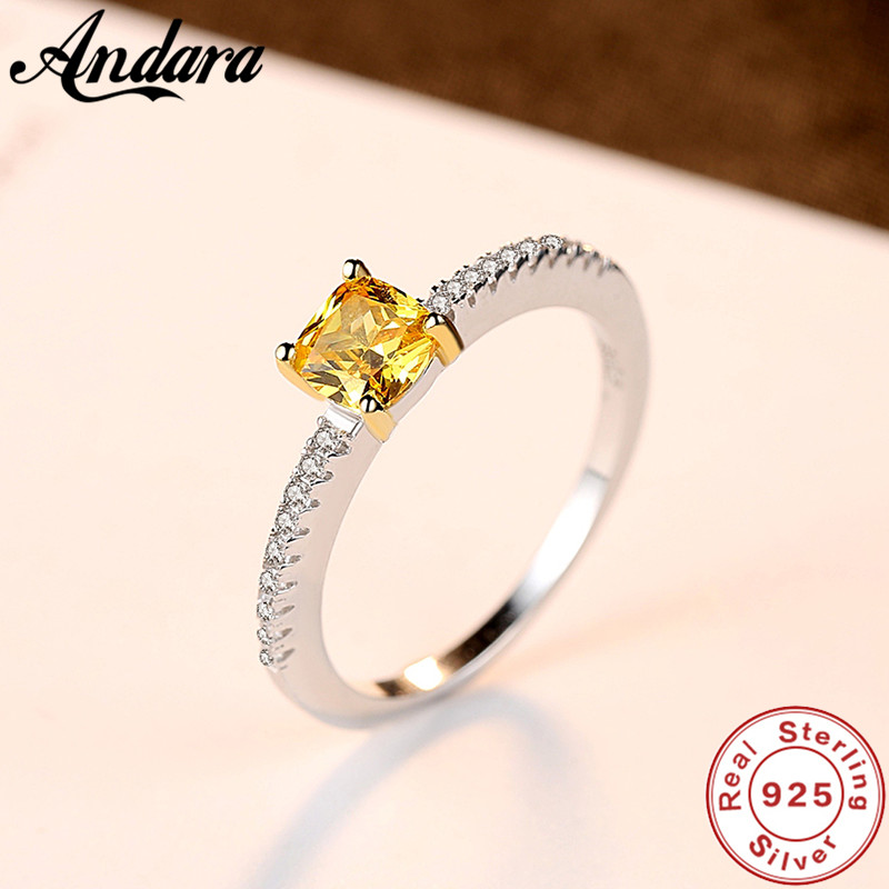 S925 Silver Ring Natural Yellow <font><b>crystal</b></font> AAA Zircon Woman Ring Jewelry Wholesale image