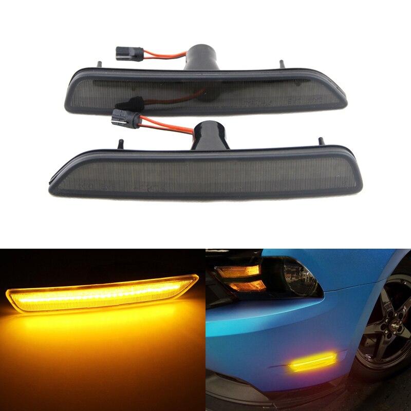 Brand New For Ford Mustang 10-14 Plug&Play Led Side Marker Lights Lamp Amber Smoke Tinted Lens External Led Light Source